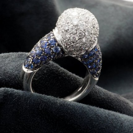 bague boule diamants saphir ref 1964