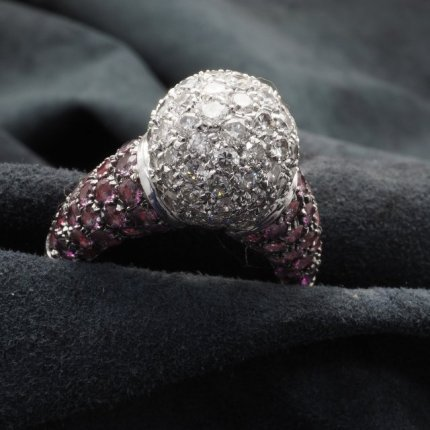 bague boule diamants saphir rose ref 1963